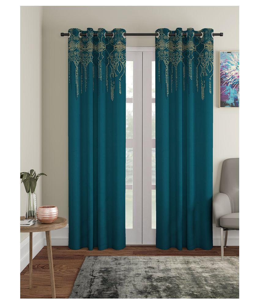 Blanc 9 Single Long Door Rod Pocket Cotton Curtains Blue