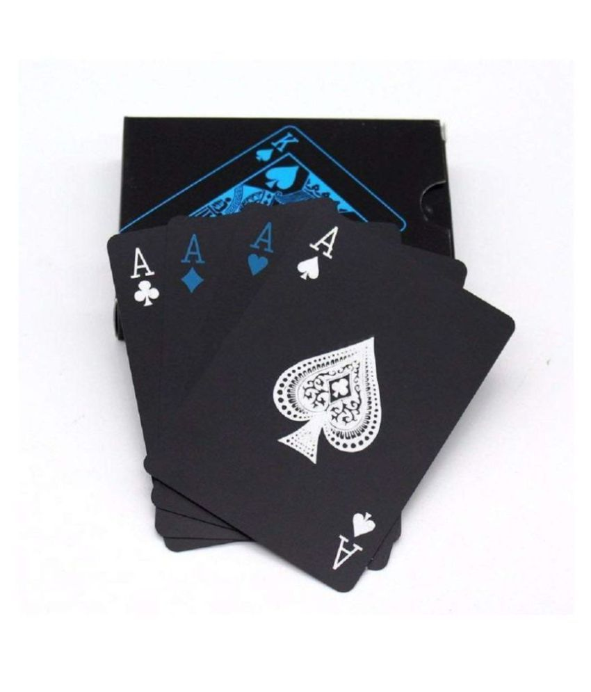 Gabbar Matte Finish Waterproof Durable Quality Rummy Card (Taash, Black, 52 Cards) Pack of 2