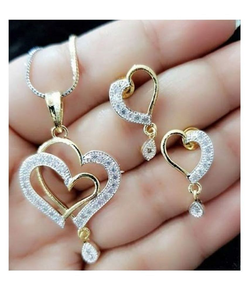 Gemity Double Heart AD Stone Pendant Set with earrings