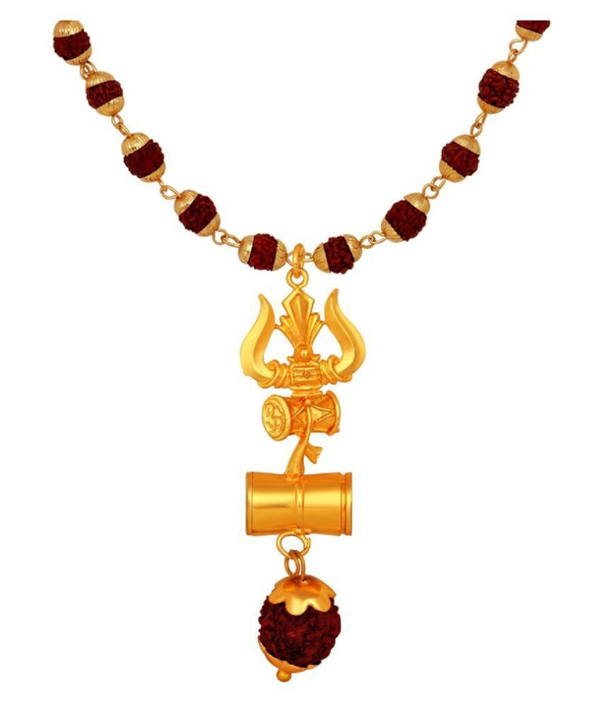 Mahi Lord Shiva Trishul and Damru Religious Pendant with 24 Inch Rudraksh Mala for Men and Women (PS1101708G)