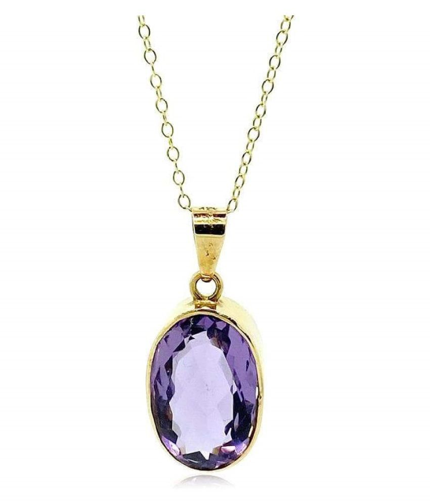 Original & Effective 6 Ratti Amethyst Stone Gold Plated Pendant without chain by Kundli Gems