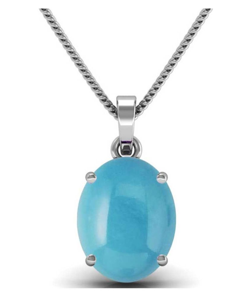 5.25 carat Natural Silver Turquoise (Firoza)Pendant without chain by Kundli Gems\n