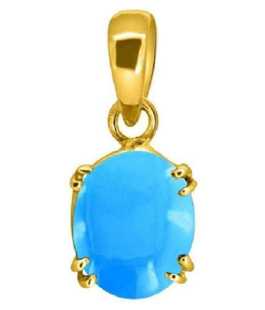 5.25 ratti Gold Plated Turquoise(Firoza)  Pendant without chain for unisex by Kundli Gems\n