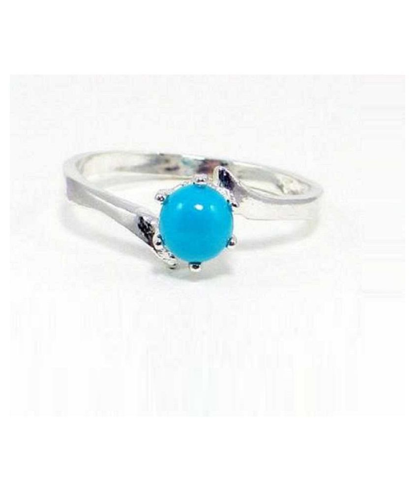 7.5 ratti natural Turquoise(Firoza)Stone pure Silver Ring  for unisex by Ratan Bazaar\n