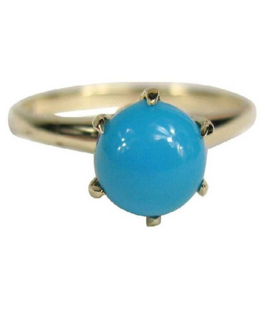 Turquoise  Ring 7 Ratti 100% Original  Gold Plated Turquoise  Stone  by Ratan Bazaar