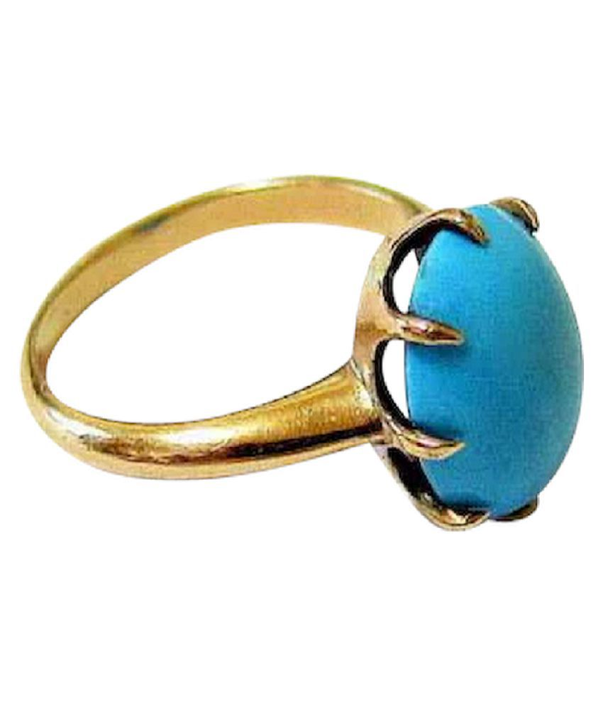 2 ratti Natural Lab certified Stone  Gold Plated Turquoise Ring  by Kundli Gems\n