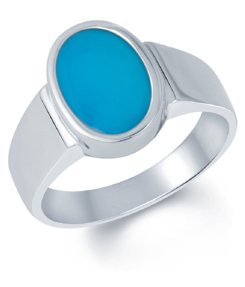 3.25 carat Natural Silver Turquoise Ring  by Kundli Gems\n