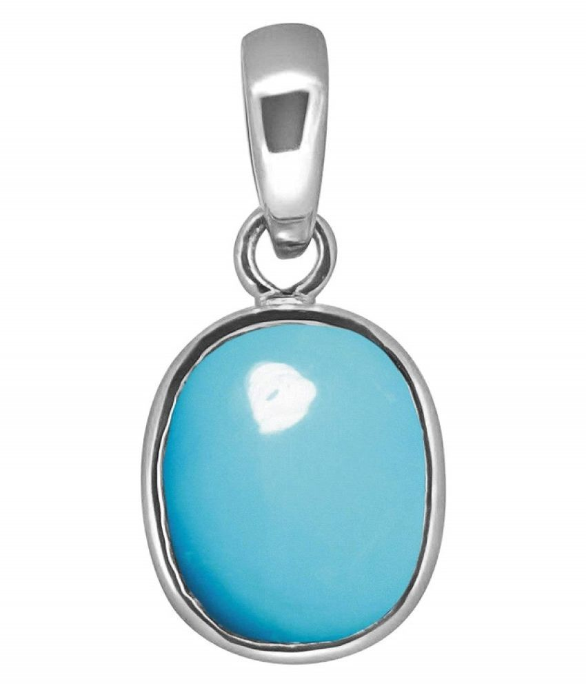 3 RATTI  Silver Turquoise Pendant without chain by Kundli Gems\n