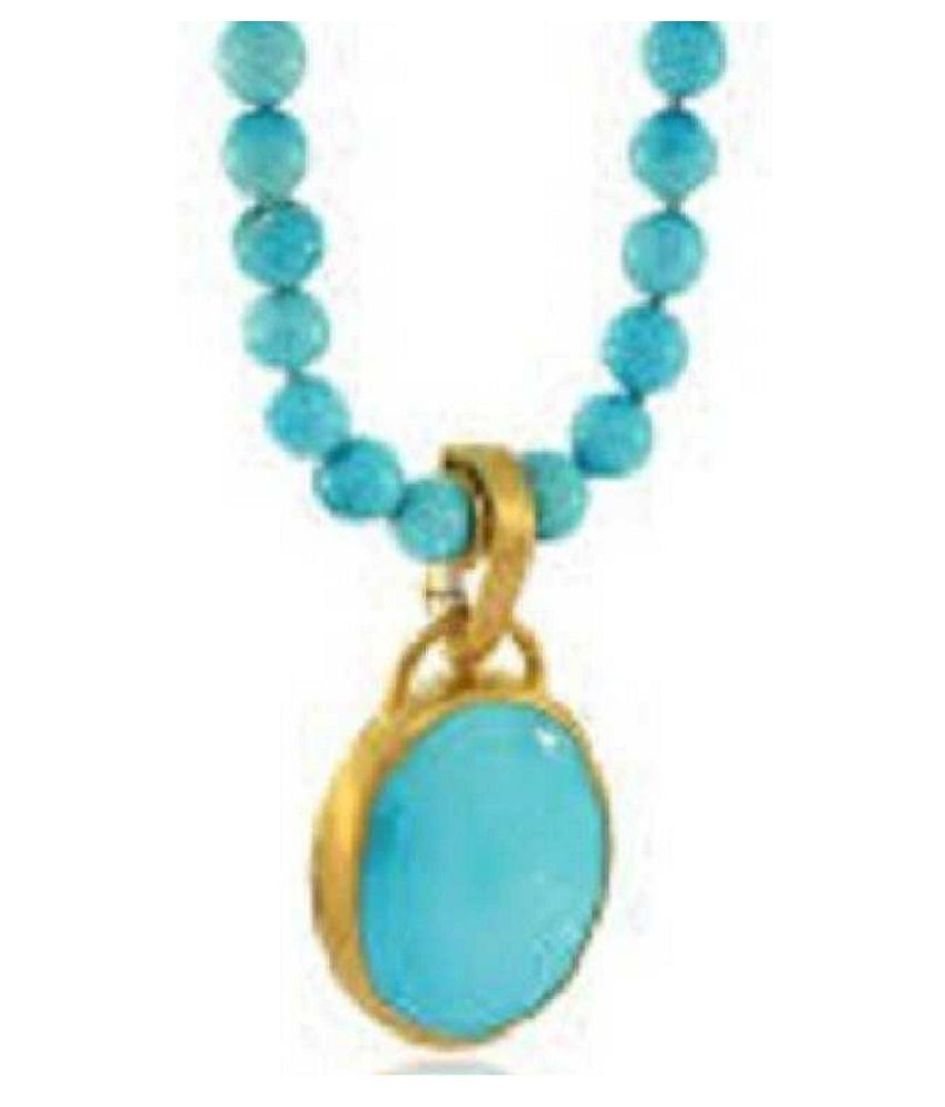 4 ratti Natural Lab certified Stone Gold Plated Turquoise Pendant without chain by Kundli Gems\n