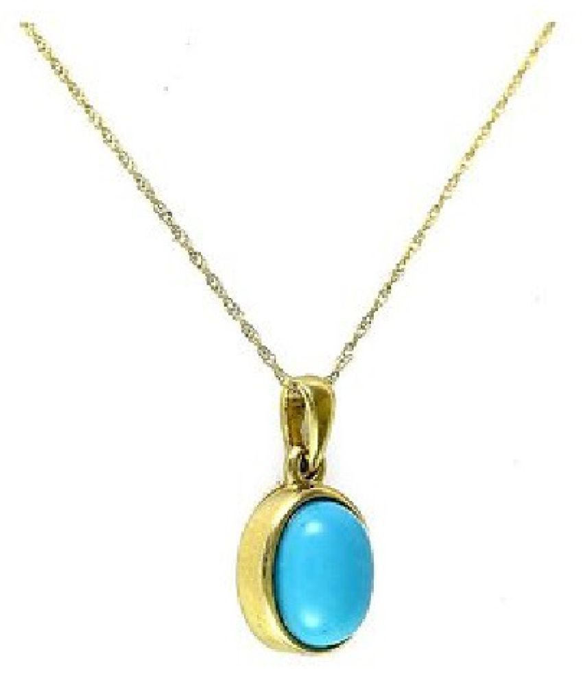 6 carat pure Turquoise(Firoza)  Gold Plated Pendant without chain by Kundli Gems\n