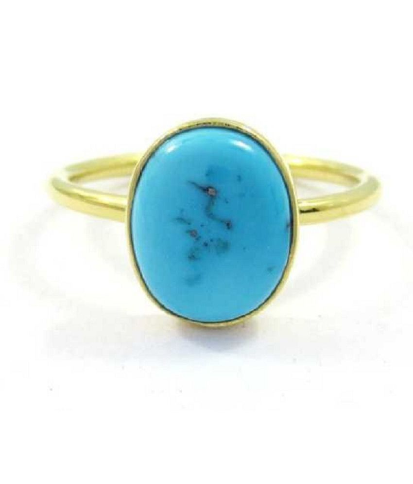 7 Carat Natural   Stone  Gold Plated Turquoise Ring  for unisex by Kundli Gems\n