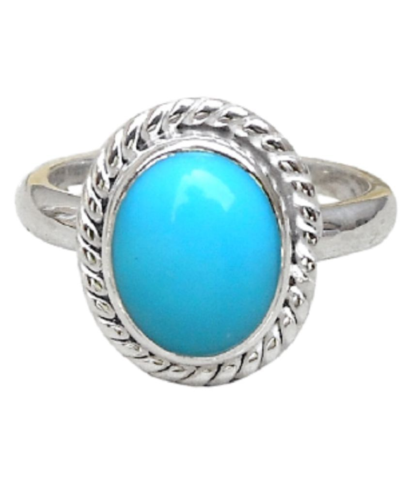 7 Ratti Turquoise(Firoza)Ring With Natural Silver Stone Ring  by Kundli Gems
