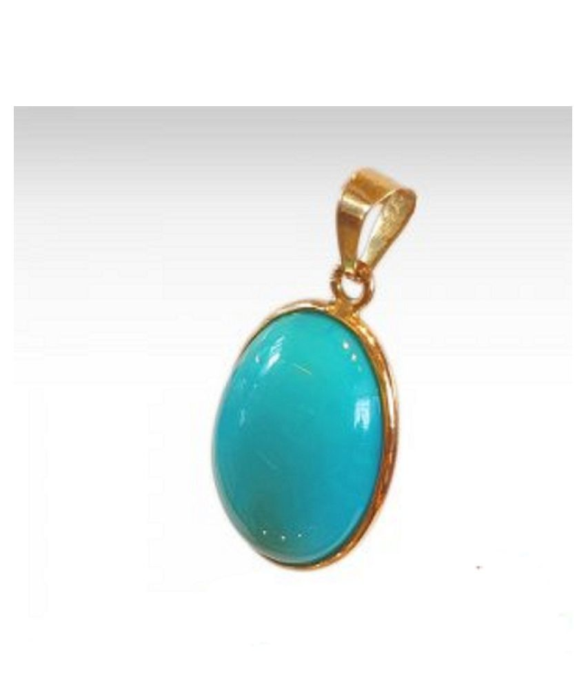 9 carat only Turquoise (Firoza)  Pendant with Natural Turquoise & Lab Certified Gold Plated Turquoise by Kundli Gems