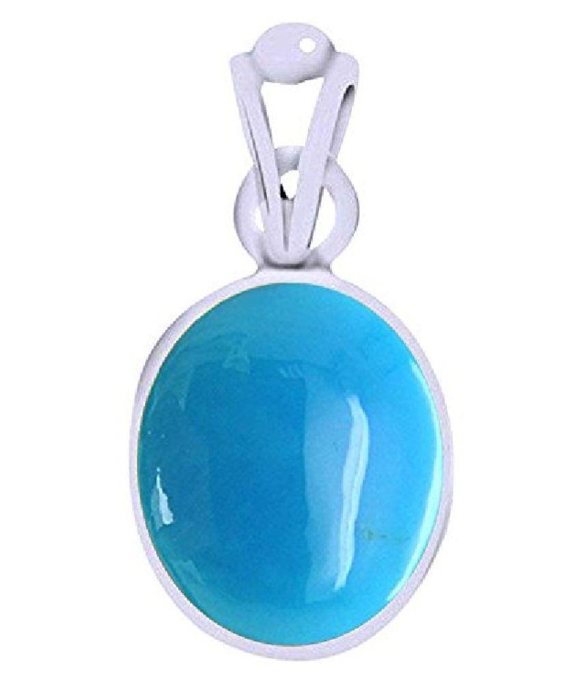 Natural Turquoise/Firoza 9.25 Ratti Stone Pendant LAb Certified Original Firoza Silver Plated Pendant BY  Kundli Gems