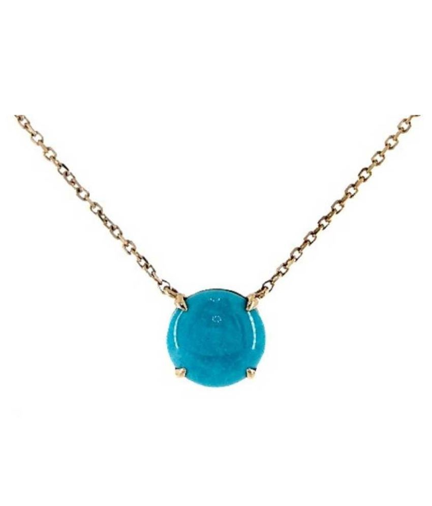 11 RATTI Gold Plated Turquoise(Firoza)  Pendant without chain by Kundli Gems\n
