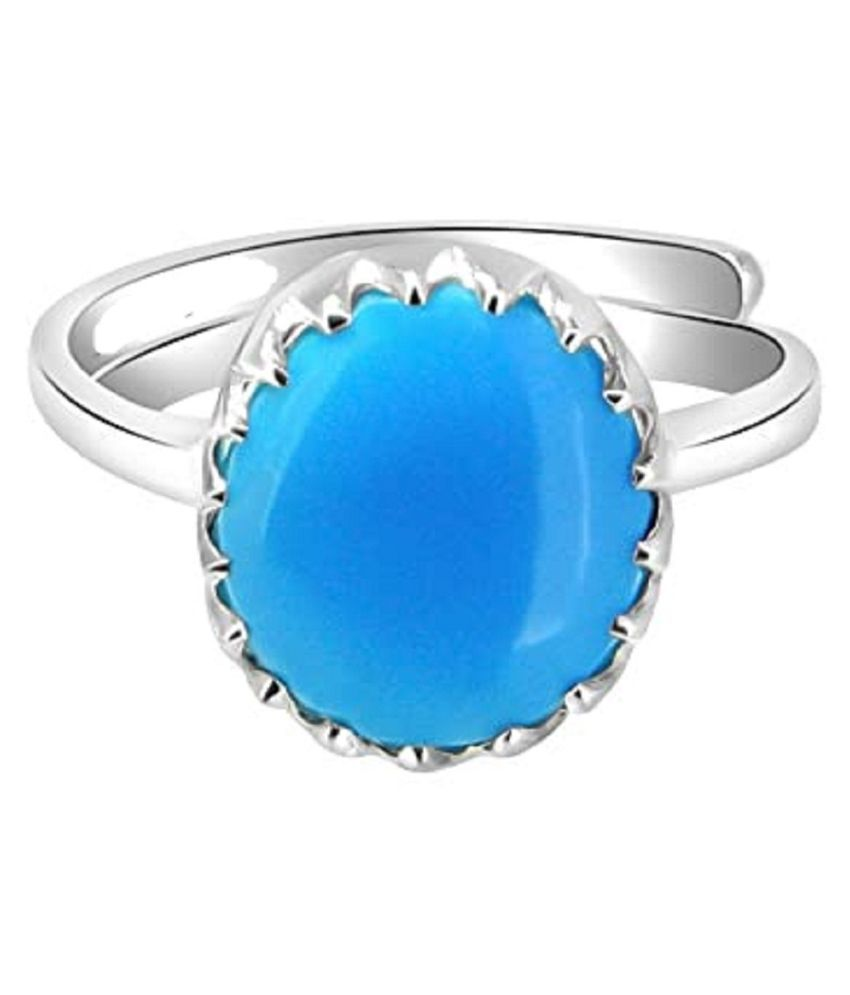 12 ratti Natural Lab certified Stone silver Turquoise Ring  by Kundli Gems\n