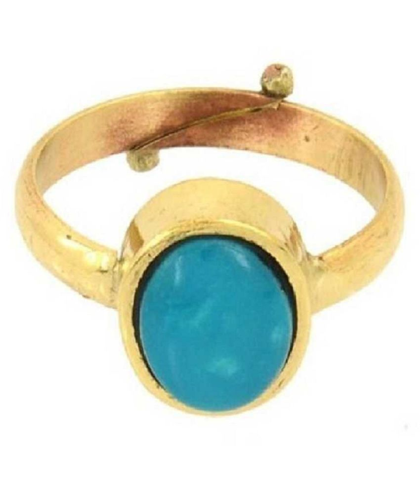 6 Carat Natural Stone  Gold Plated Turquoise Ring  for unisex by Kundli Gems\n