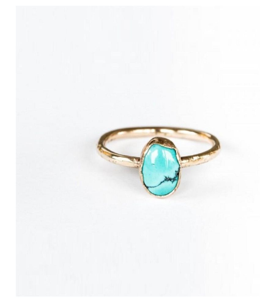 7 ratti Natural Lab certified Stone  Gold Plated Turquoise Ring  by Kundli Gems\n