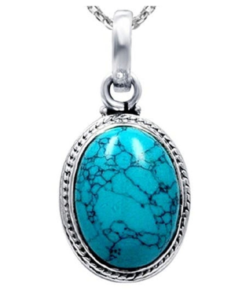 Natural Turquoise 11.25 Carat  Silver Pendant without chain  by Kundli Gems\n