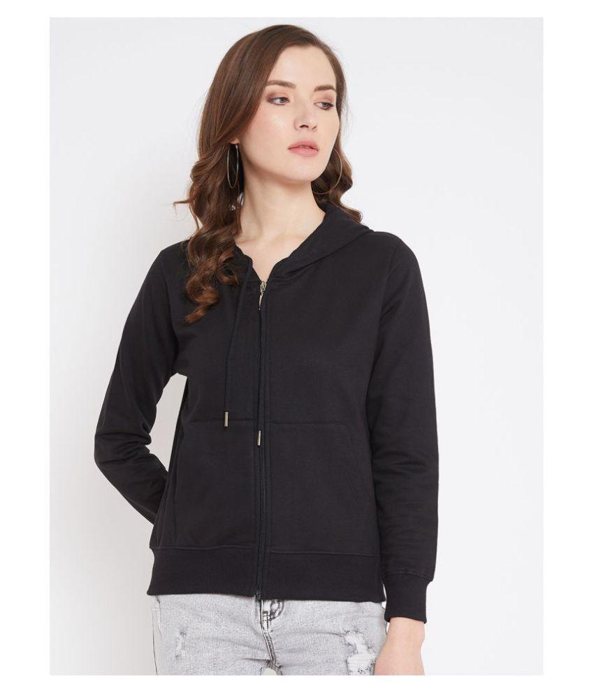 fashtantic Cotton Black Hooded Sweatshirt