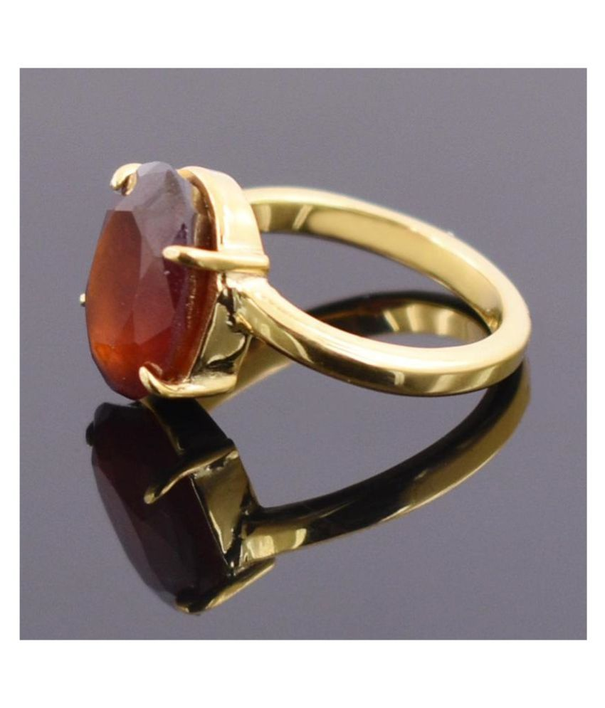 4.25 Ratti Gold Plated Original Hessonite (Gomed) Ring  Lab Certified   Stone by Ratan Bazaar\n