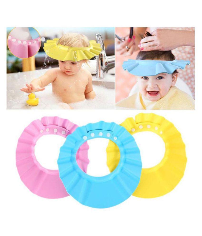 EIGHTEEN ENTERPRISE Baby Toddler Shampoo Bath Shower Cap Wash Hair Ear Shield ( set of 3 )