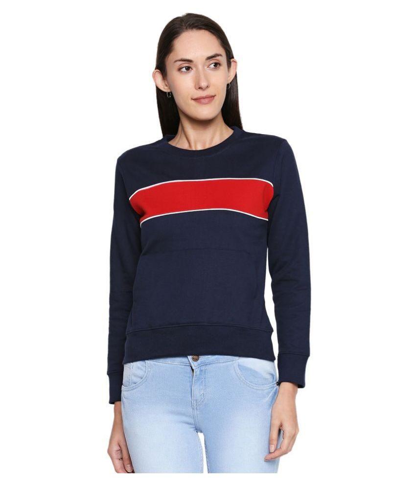Jhankhi Fleece Blue Non Hooded Sweatshirt