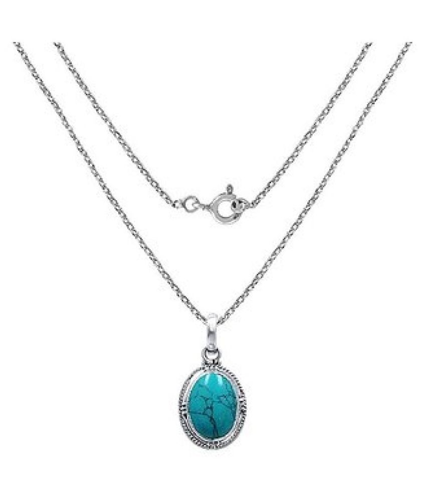 Pendant 4 ratti Natural Turquoise  Silver Pendantwithout chain by Ratan Bazaar