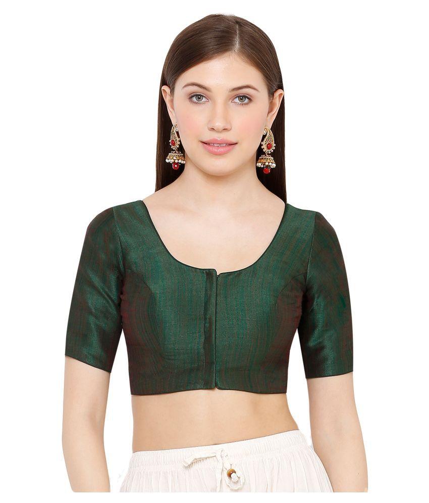 Salwar Studio Green Art Silk Readymade with Pad Blouse