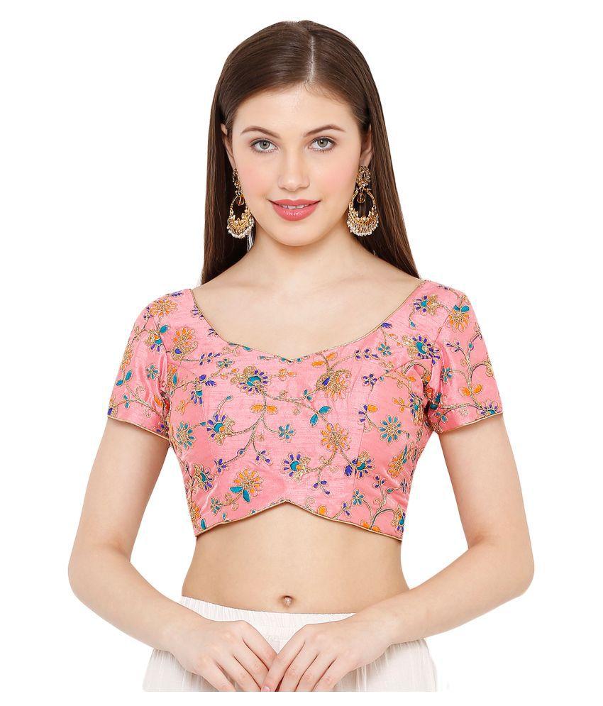 Salwar Studio Pink Silk Readymade with Pad Blouse