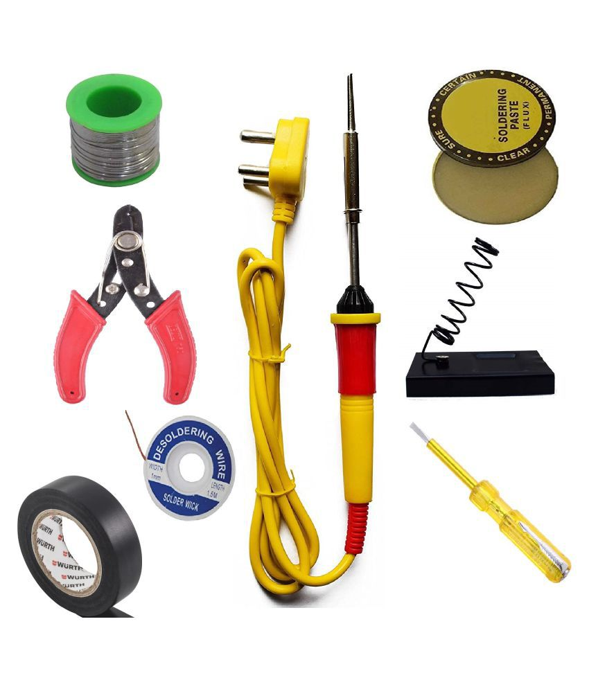 Ukoit (8 in 1) High Quality 25W Soldering Kit including Soldering Iron, Soldering Wire(5m), Flux, Iron Stand, Cutter, Tester, D-Wick and Tape