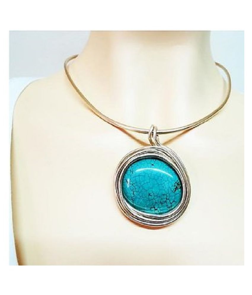 10.25 ratti Pendant Natural Turquoise  Gold Plated Pendantwithout chain by Ratan Bazaar