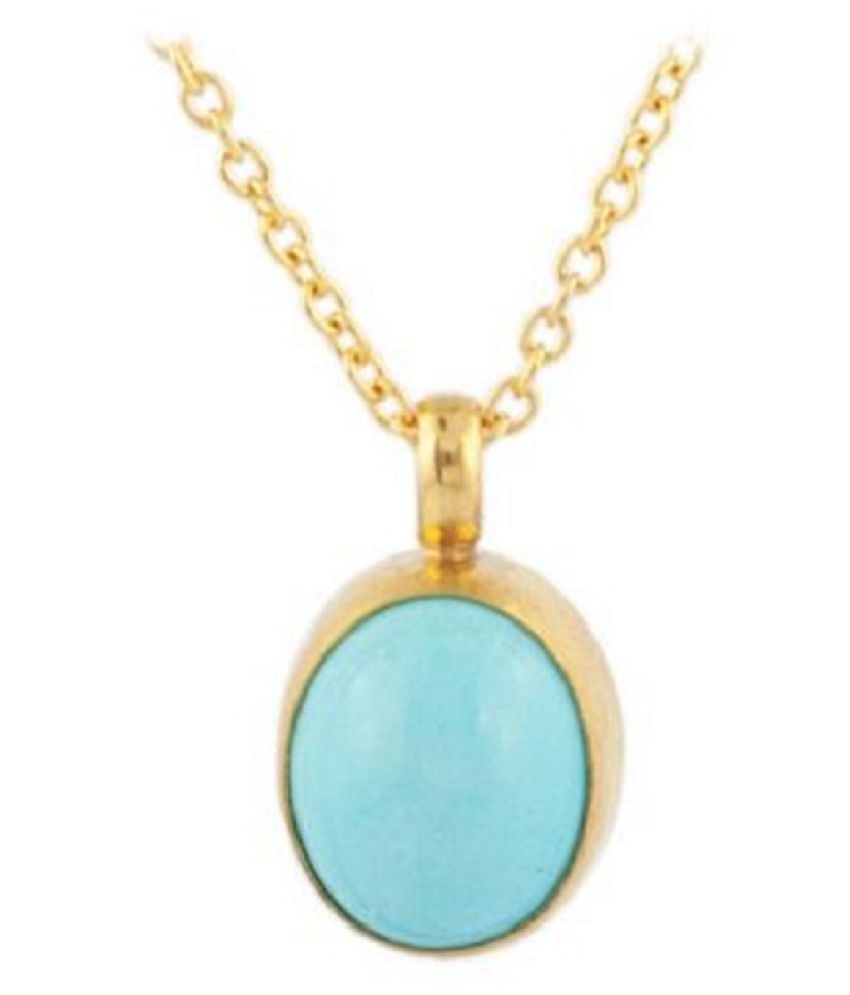 6.5 Ratti Turquoise Gold Plated Pendant without chain for Unisex by Ratan Bazaar\n