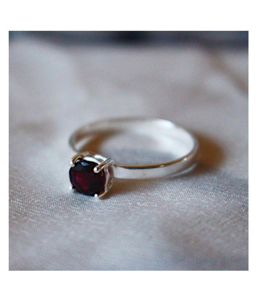 9.25 Ratti Silver Original Hessonite(Gomed)Ring  Lab Certified Stone by Ratan Bazaar\n