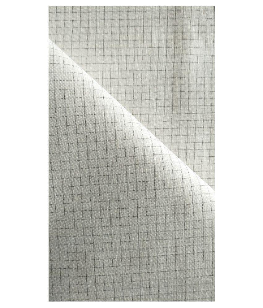Makhanchor White Linen Blended Unstitched Shirt pc Single