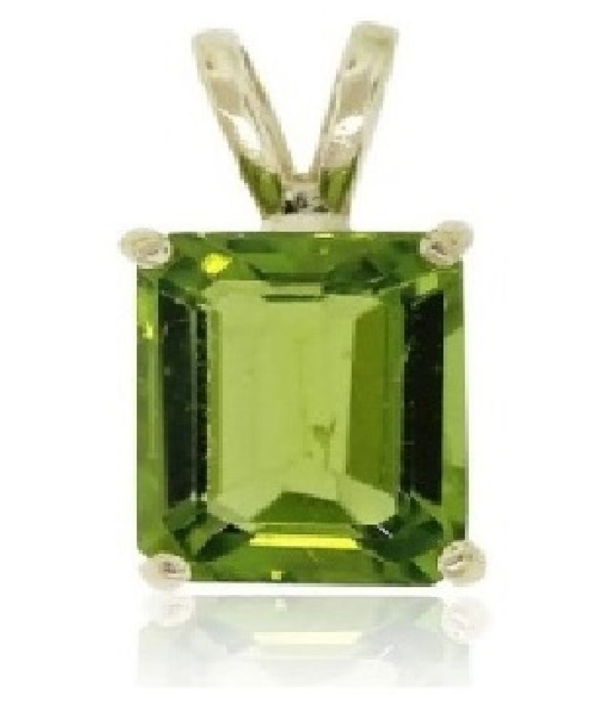 8 ratti Stone 100% Natural Peridot Silver Pendant without chain by Ratan Bazaar\n