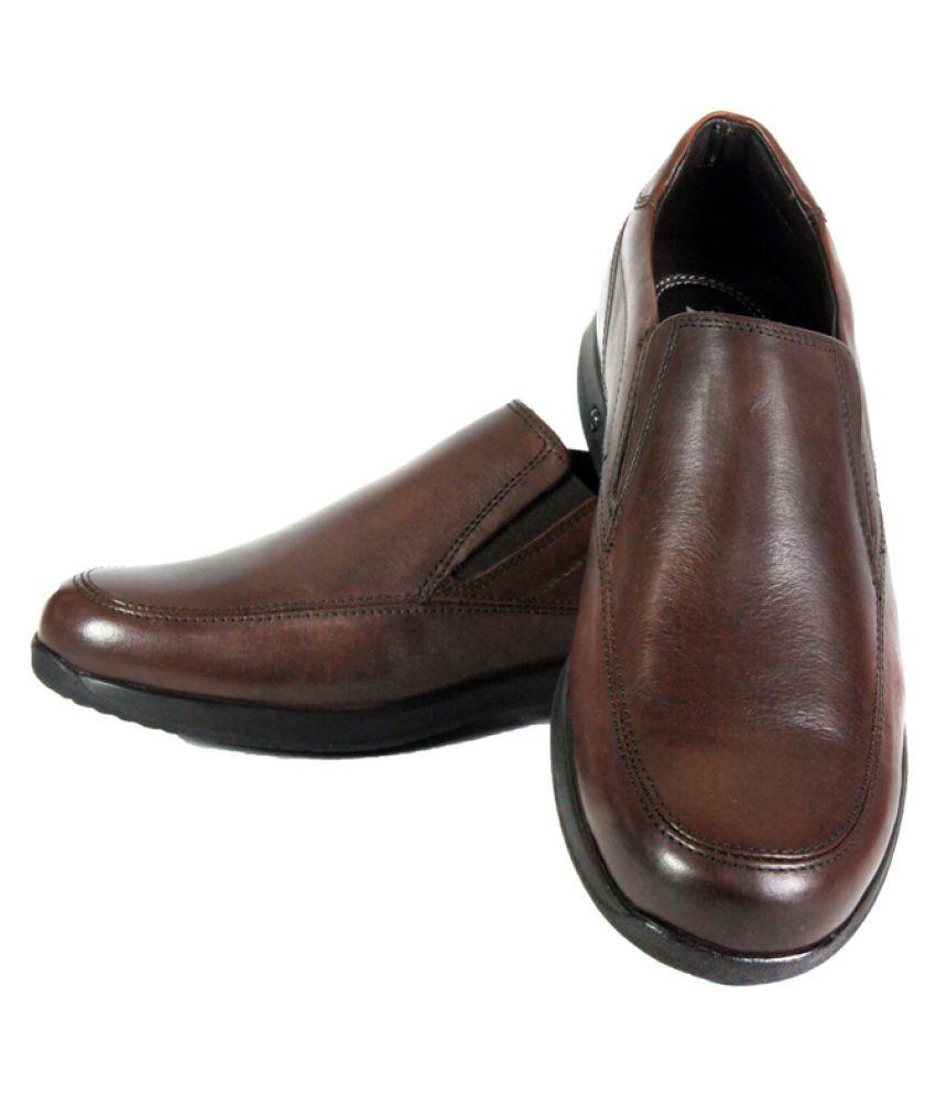 Braking Slip On Genuine Leather Brown Formal Shoes