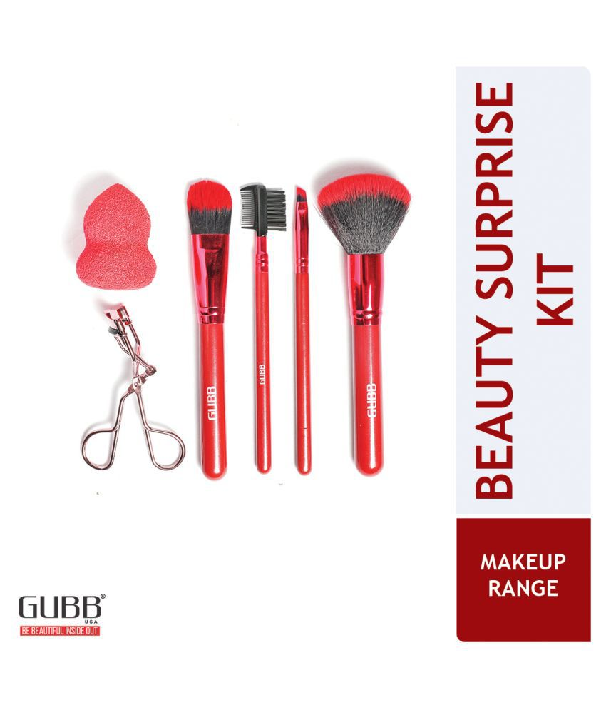 Gubb Makeup Brush Set With Eyelash Curler & Makeup Sponge Puff Face Brushes Synthetic Evenout,Blending,Contouring 200 g 6 Pcs
