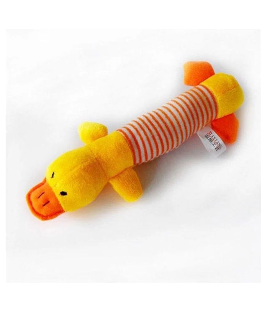 KUTKUT Funny Plush Squeak Chew Sound Duck Fleece Toy For Dogs and Cats