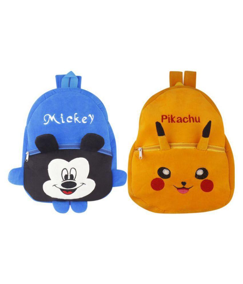 SSImpex Pikachu Mickey Kids School Bag Soft Plush Backpacks Cartoon Baby Boy Girl (2-5 Years) (Yellow,Blue) Pack of 2