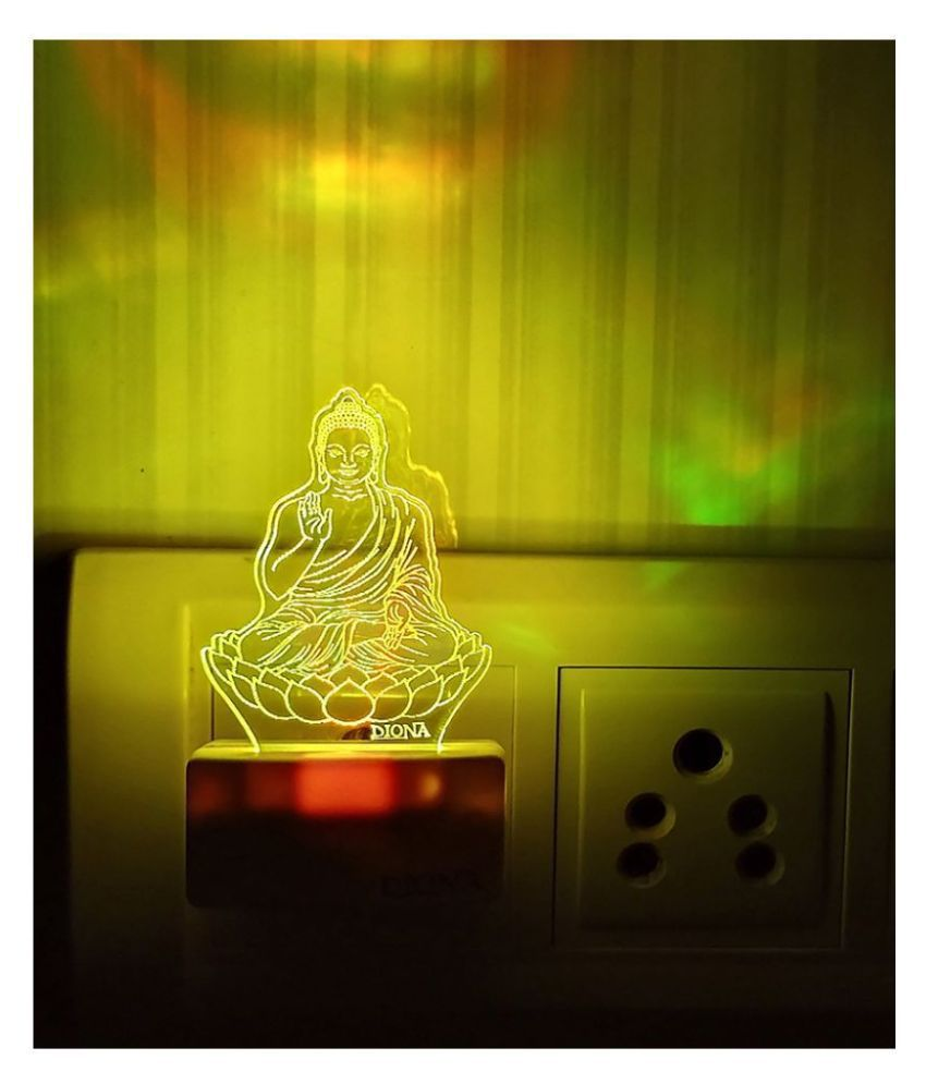 DIONA Buddha LED Multi Color Changing Night Lamp For Home Decor Corporate Gifts Night Lamp Multi - Pack of 1