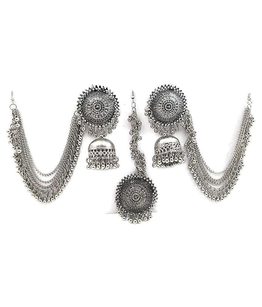 MOHAK Latest Oxidised German Silver Antique Design Traditional Maang Tikka Jhumka Earrings Jewellery Set for Women