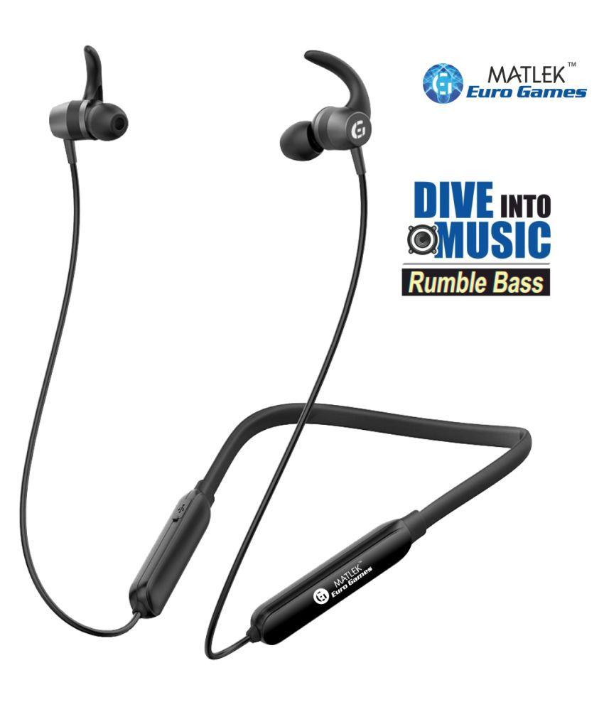 Matlek Headphone Earphone Bluetooth Wireless Neckband Wireless With Mic Headphones/Earphones