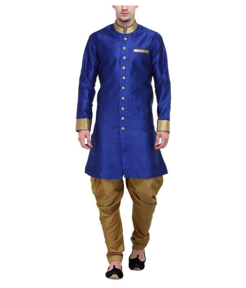 RG Designers Blue Silk Blend Sherwani