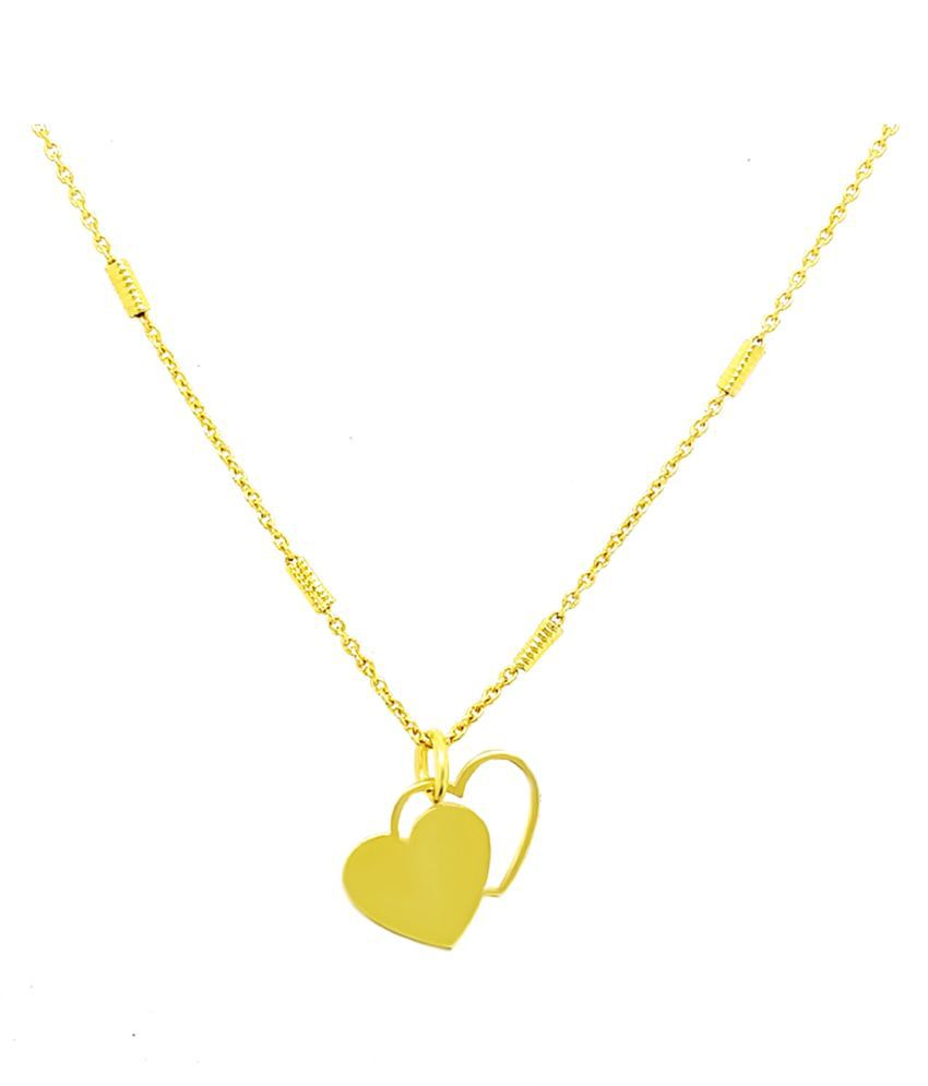 Brass Gold Heart Necklace Valentines Gift Two Heart ...