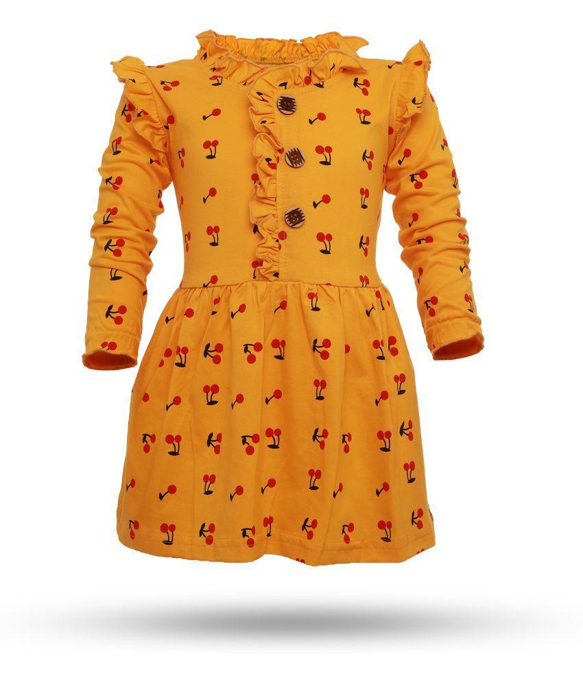 CATCUB Girl's Cotton Cherry Printed Frock (Yellow)