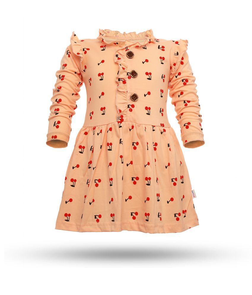 CATCUB Girl's Cotton Cherry Printed Frock (Peach)