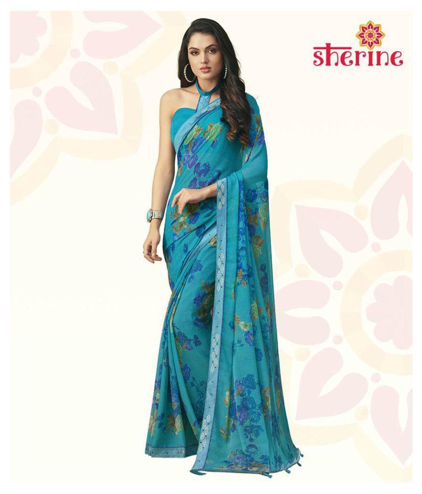 Sherine Blue Saree with Blouse Piece (Fabric- Poly Chiffon)