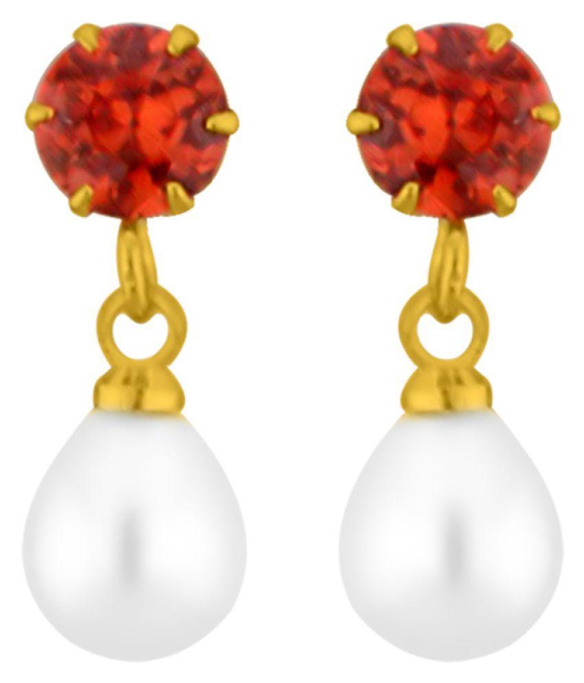 Stylish Red Stones Earrings By KNK Jewellery