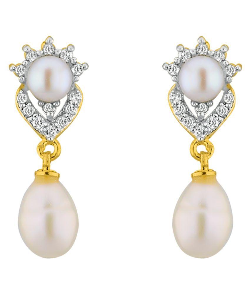 Stylish Sparkles Cz Pearl Drop Earrings By KNK Jewellery